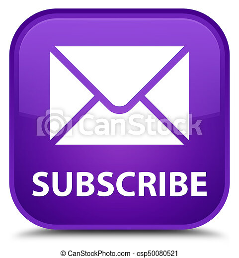 Subscribe (email icon) special purple square button - csp50080521