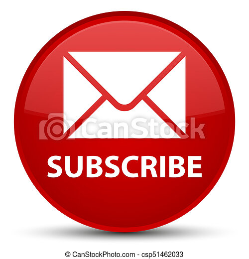 Subscribe (email icon) special red round button - csp51462033