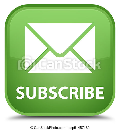 Subscribe (email icon) special soft green square button - csp51457182