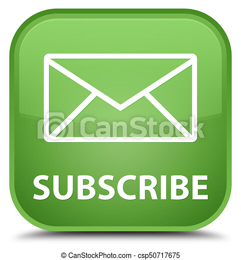 Subscribe (email icon) special soft green square button - csp50717675
