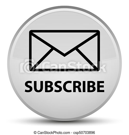 Subscribe (email icon) special white round button - csp50703896