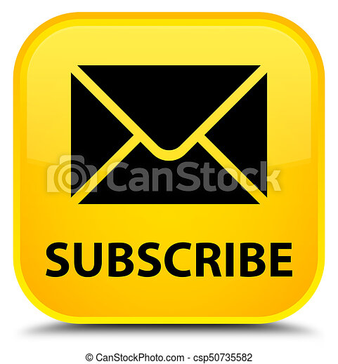 Subscribe (email icon) special yellow square button - csp50735582