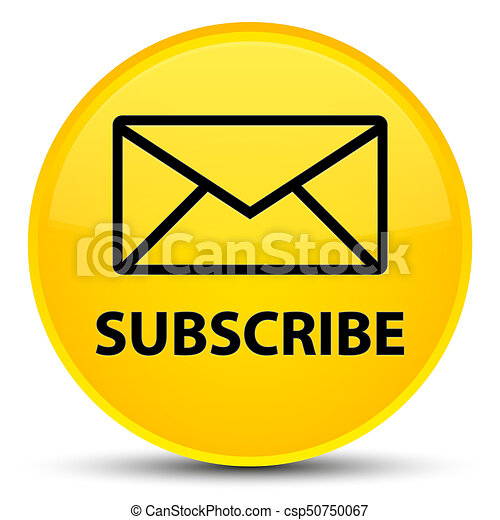 Subscribe (email icon) special yellow round button - csp50750067