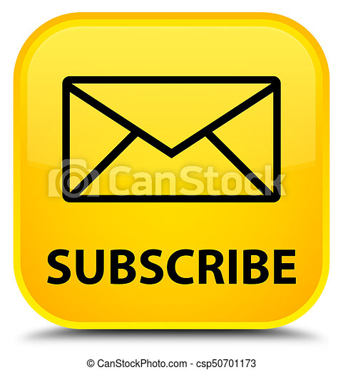 Subscribe (email icon) special yellow square button - csp50701173