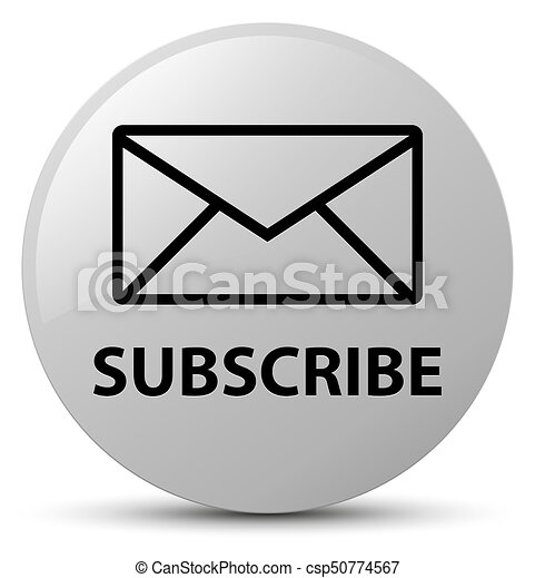 Subscribe (email icon) white round button - csp50774567