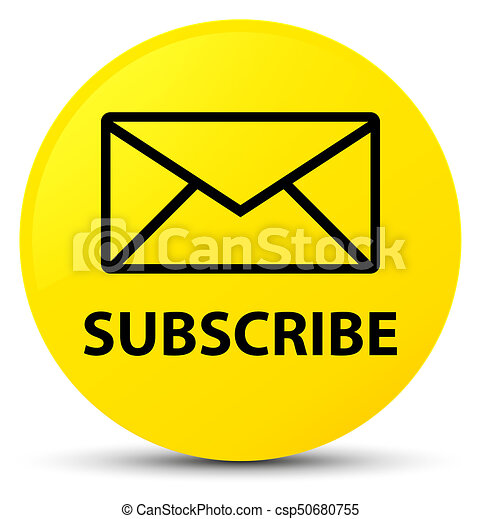 Subscribe (email icon) yellow round button - csp50680755