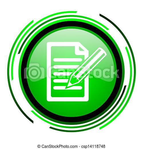subscribe green circle glossy icon - csp14118748