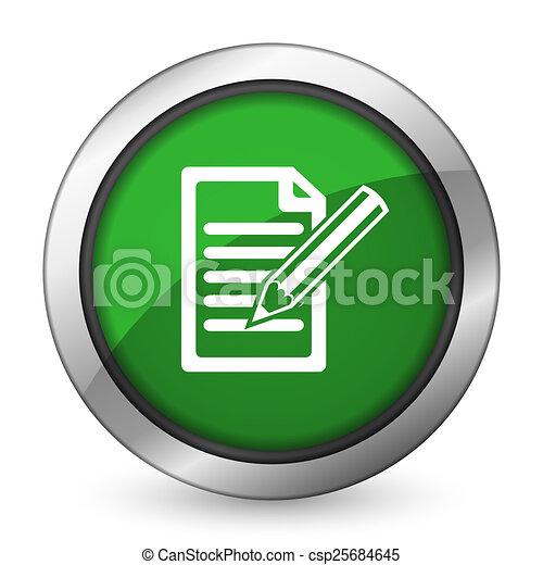 subscribe green icon write sign - csp25684645