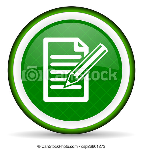 subscribe green icon write sign - csp26601273