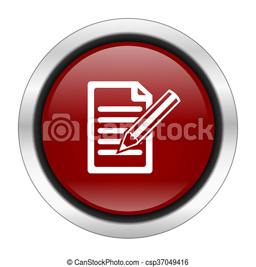 subscribe icon, red round button isolated on white background, web design illustration - csp37049416