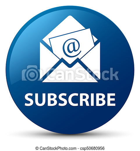 Subscribe (newsletter email icon) blue round button - csp50680956