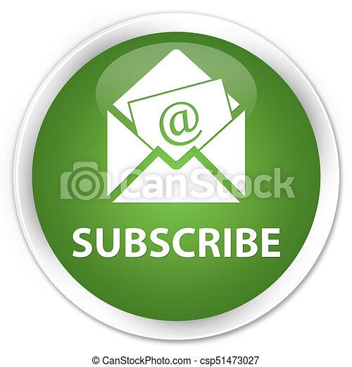 Subscribe (newsletter email icon) premium soft green round button - csp51473027