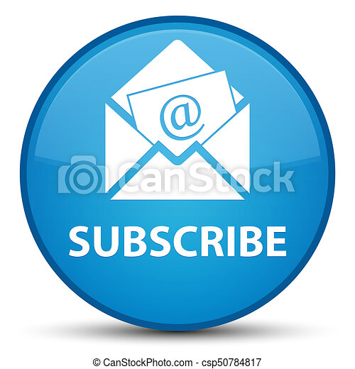 Subscribe (newsletter email icon) special cyan blue round button - csp50784817