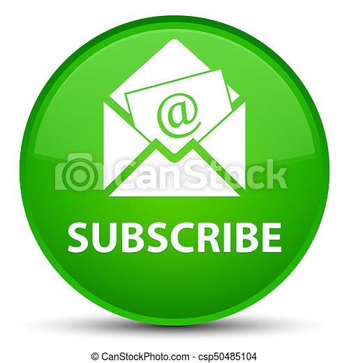 Subscribe (newsletter email icon) special green round button - csp50485104