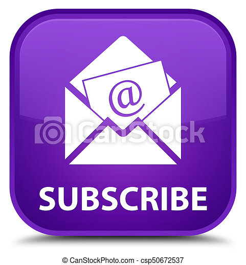 Subscribe (newsletter email icon) special purple square button - csp50672537