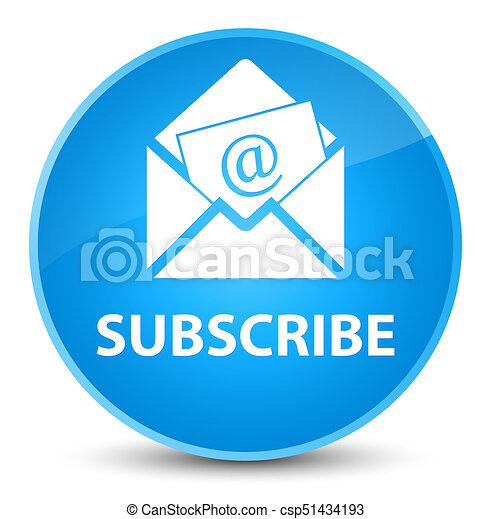 Subscribe (newsletter email icon) elegant cyan blue round button - csp51434193