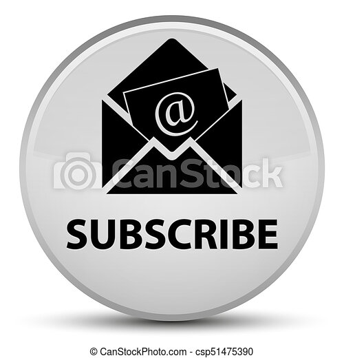 Subscribe (newsletter email icon) special white round button - csp51475390