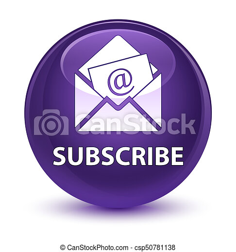 Subscribe (newsletter email icon) glassy purple round button - csp50781138
