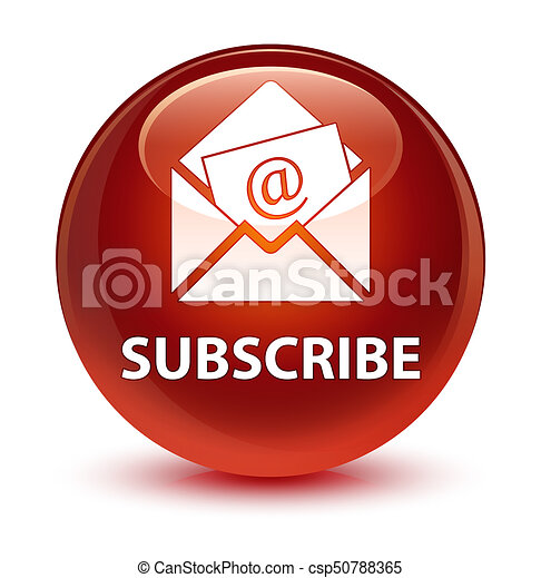 Subscribe (newsletter email icon) glassy brown round button - csp50788365