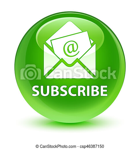Subscribe (newsletter email icon) glassy green round button - csp46387150