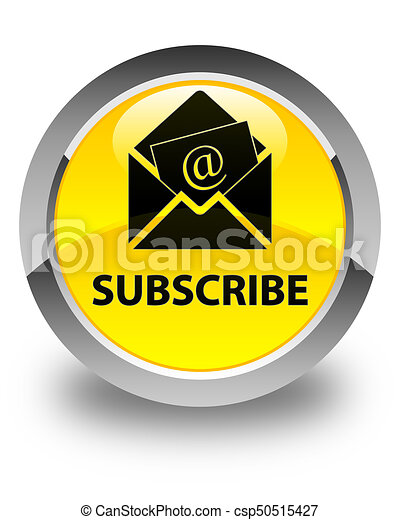 Subscribe (newsletter email icon) glossy yellow round button - csp50515427