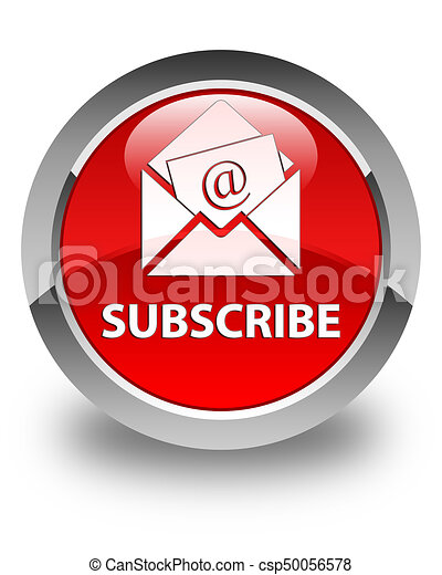 Subscribe (newsletter email icon) glossy red round button - csp50056578