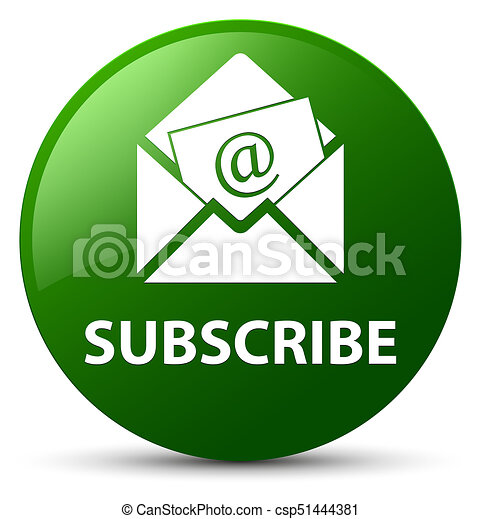 Subscribe (newsletter email icon) green round button - csp51444381