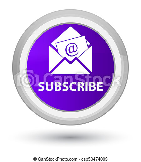 Subscribe (newsletter email icon) prime purple round button - csp50474003