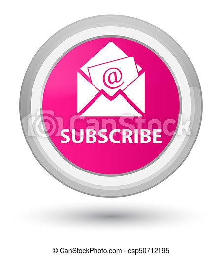Subscribe (newsletter email icon) prime pink round button - csp50712195