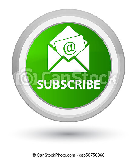 Subscribe (newsletter email icon) prime green round button - csp50750060