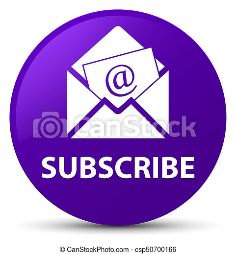 Subscribe (newsletter email icon) purple round button - csp50700166