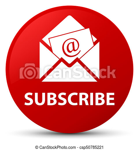 Subscribe (newsletter email icon) red round button - csp50785221