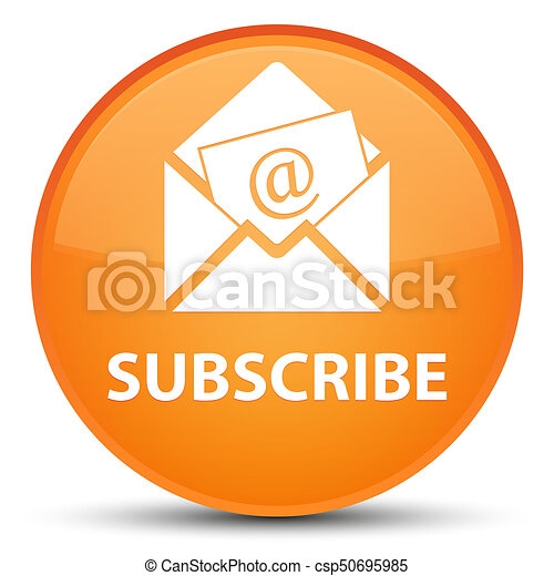 Subscribe (newsletter email icon) special orange round button - csp50695985