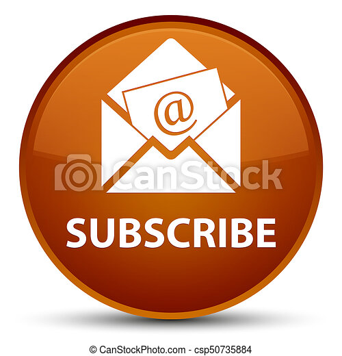 Subscribe (newsletter email icon) special brown round button - csp50735884