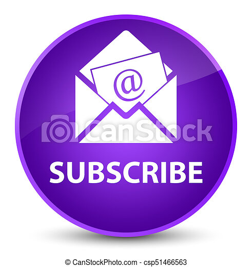 Subscribe (newsletter email icon) elegant purple round button - csp51466563