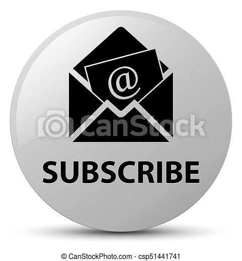 Subscribe (newsletter email icon) white round button - csp51441741