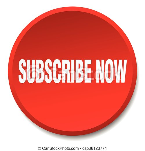 subscribe now red round flat isolated push button - csp36123774