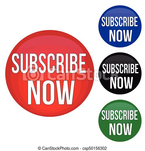 Subscribe now round website glossy buttons - csp50156302