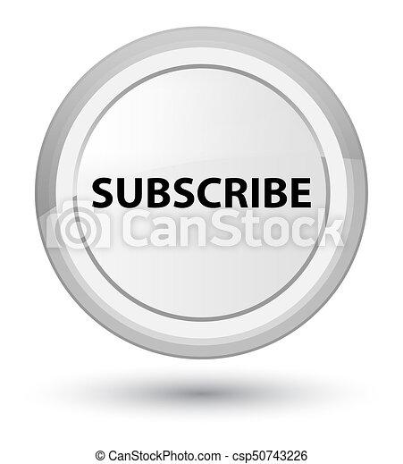 Subscribe prime white round button - csp50743226