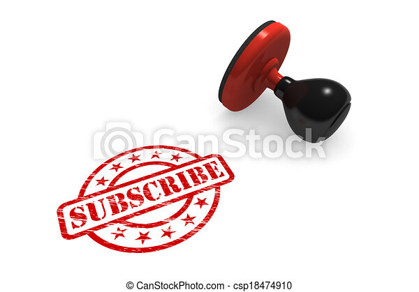 Subscribe Rubber Stamp - csp18474910
