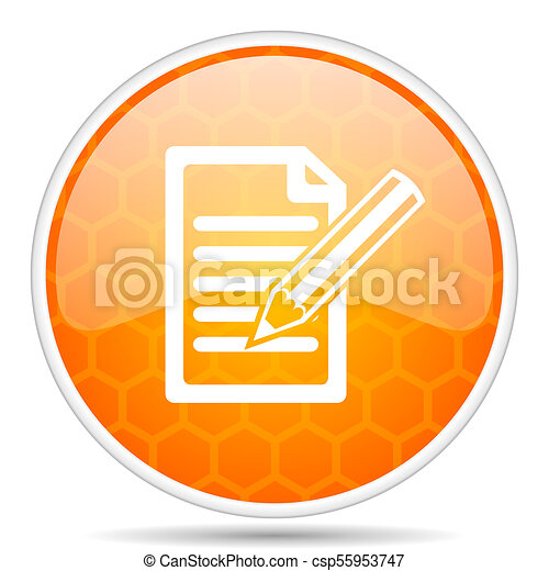 Subscribe web icon. Round orange glossy internet button for webdesign. - csp55953747