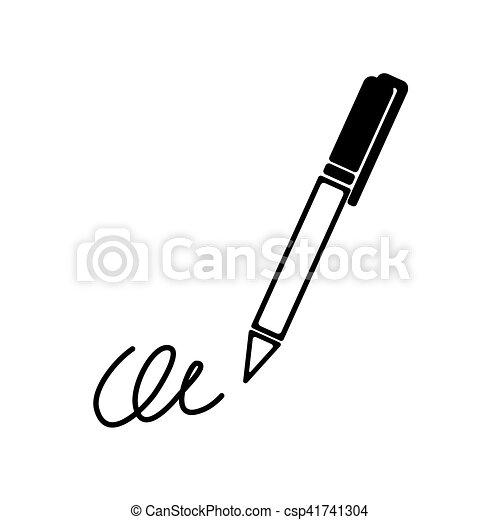 La firma, la pluma, la suscripción, subescritura, ratificar icono simple - csp41741304