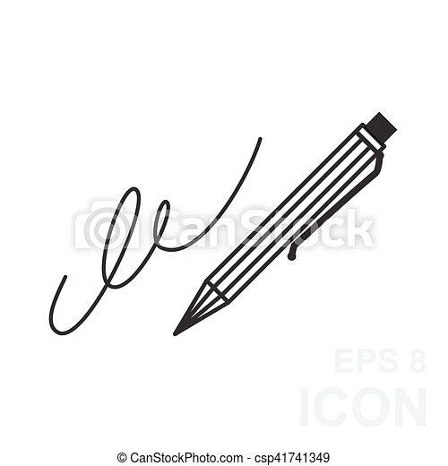 La firma, la pluma, la suscripción, subescritura, ratificar icono simple - csp41741349