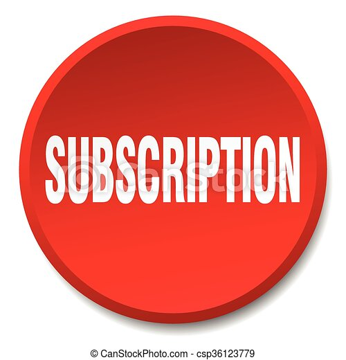 subscription red round flat isolated push button - csp36123779