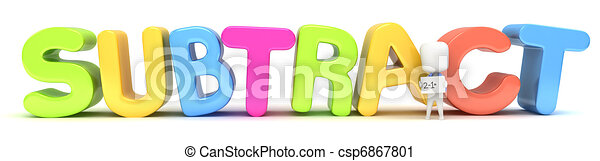 subtraction 3d illustration of a kid holding a flash card against rh canstockphoto com subtraction sentence clipart addition subtraction clipart