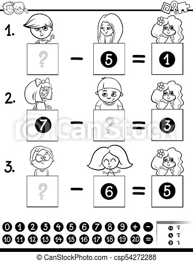 Subtraction educational game color book with kids. Black and ...