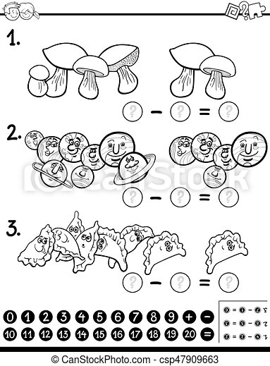 subtraction maths activity coloring page - csp47909663