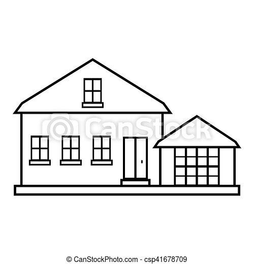 Suburban american house icon, outline style - csp41678709
