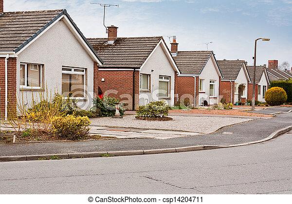 suburban bungalows on housing estate - csp14204711