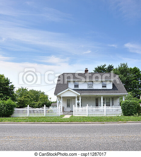 Suburban Cottage Home with White Picket Fence - csp11287017